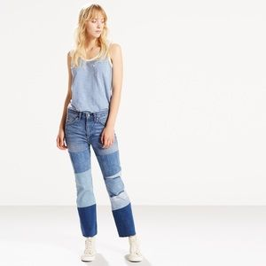 Levi's 517 Cropped High Rise Patchwork Jeans
